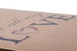 """Торба за подарък от крафт хартия """"Love"""" голям размер"""