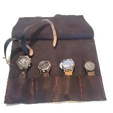 Travel watch roll, handmade black leather watch roll case, Schmuckrolle leder