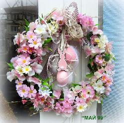 Великденски венец в розово