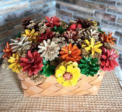 Кошница с цветя от шишарки, ръчна изработка